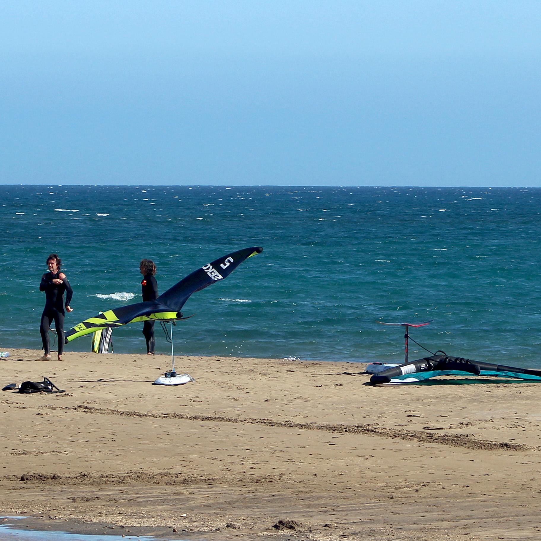 wing foilers on playa honda beach