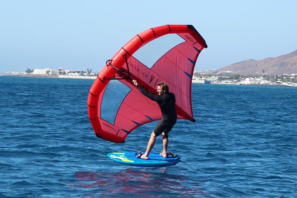 wing foiler at sea, lanzarote